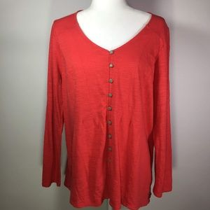 J. Jill Orange Cotton  Blouse Size Large